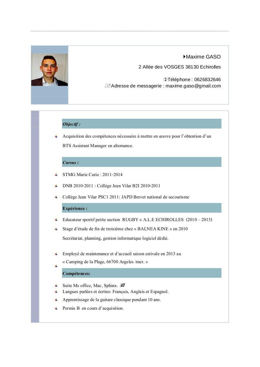 competences assistant de manager cv