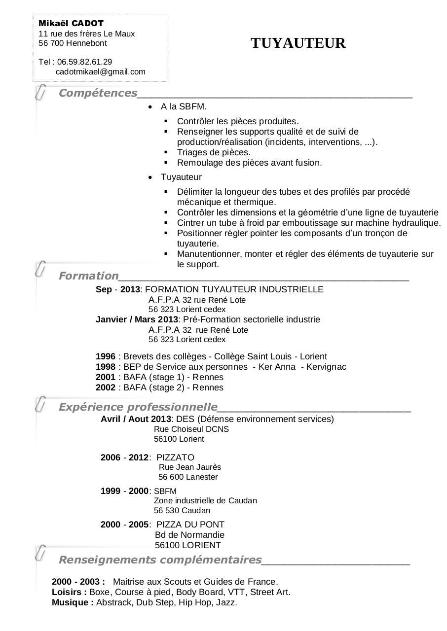 cv de stage exemple pdf