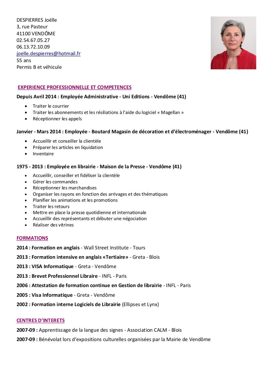 langue et informatique cv