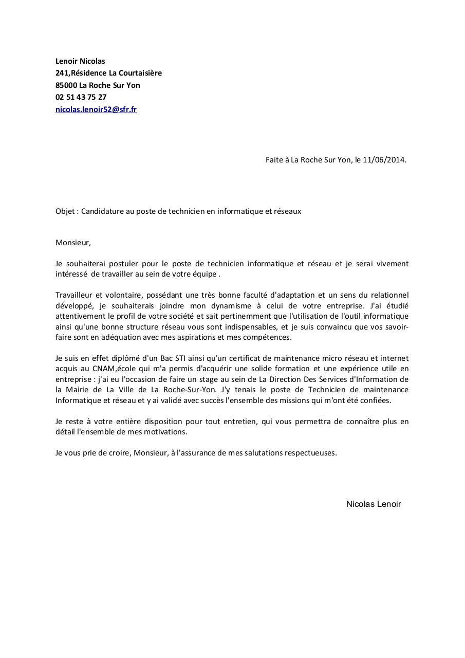 lettre de motivation mairie