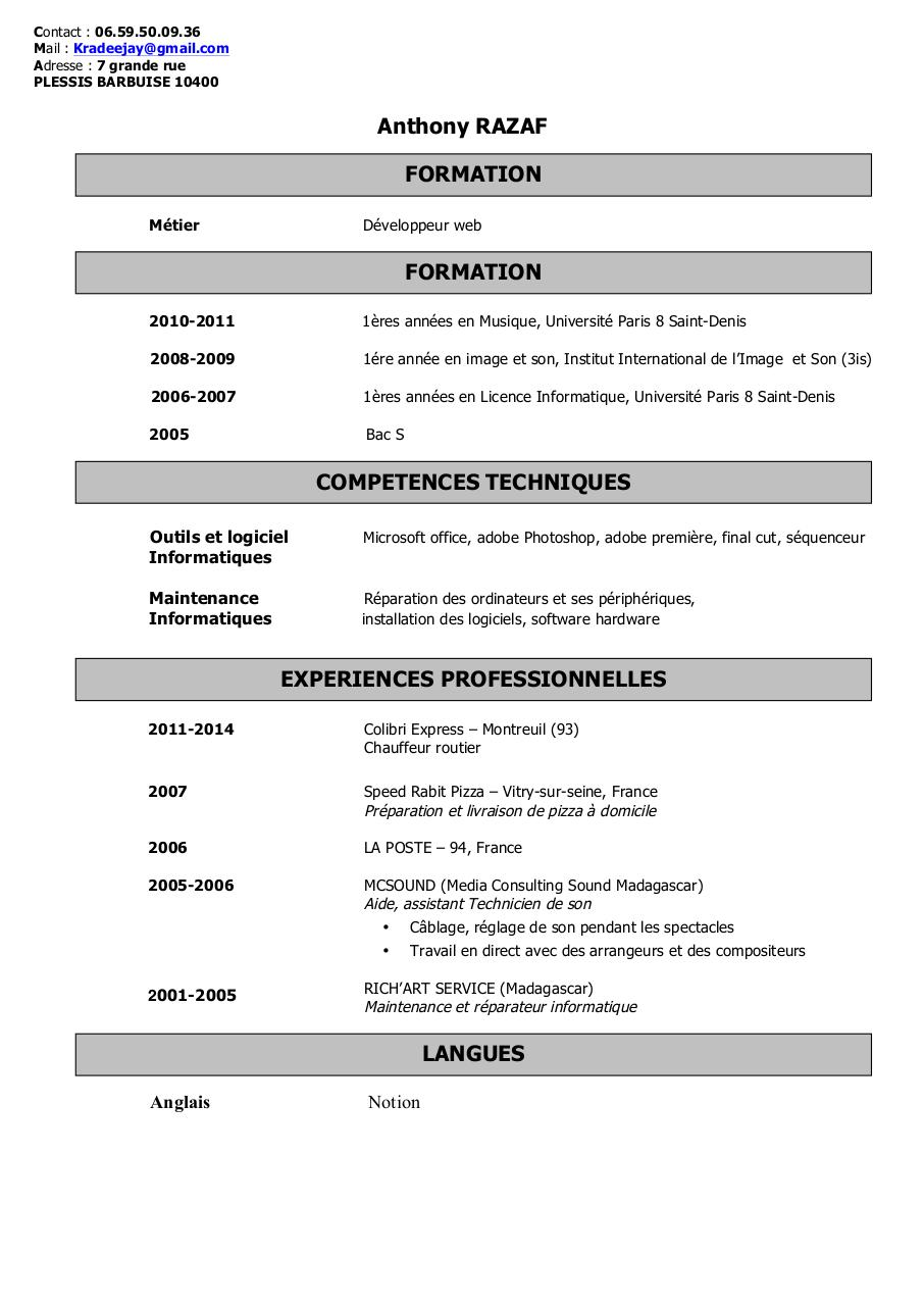 cv competences informatiques microsoft office