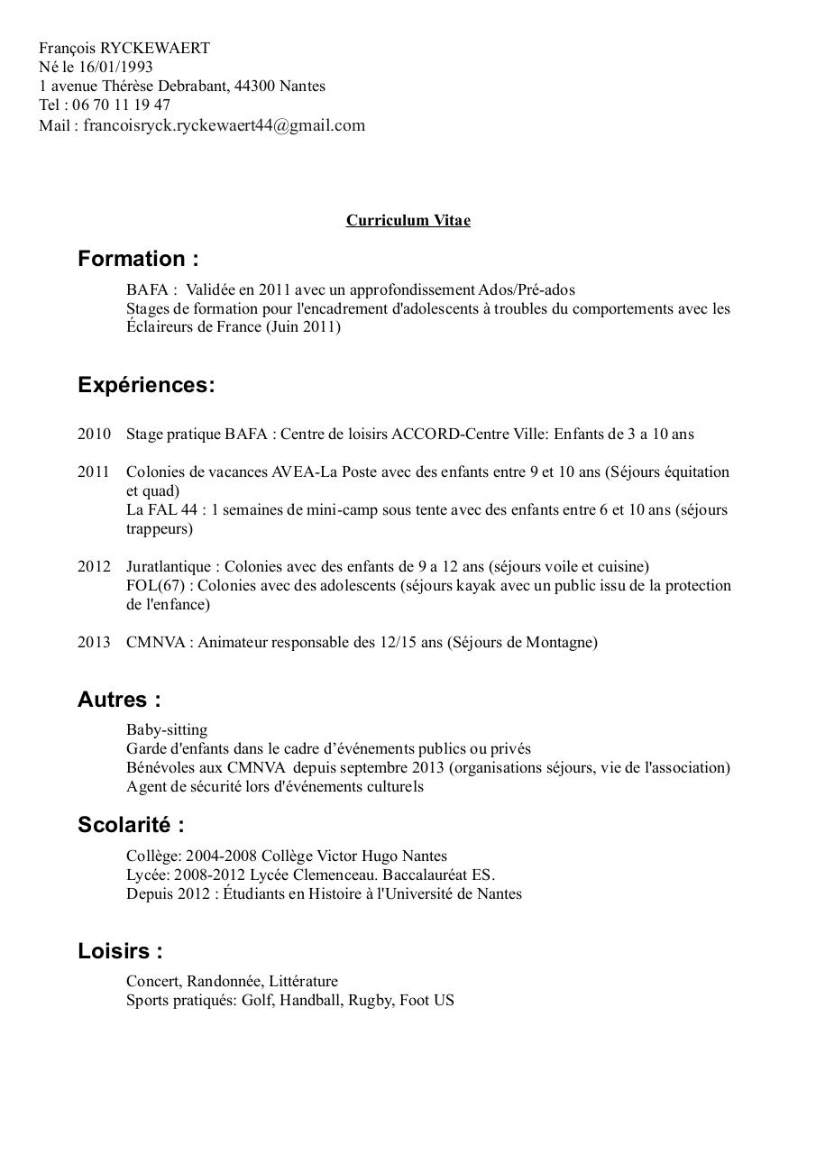 cv exemple animation