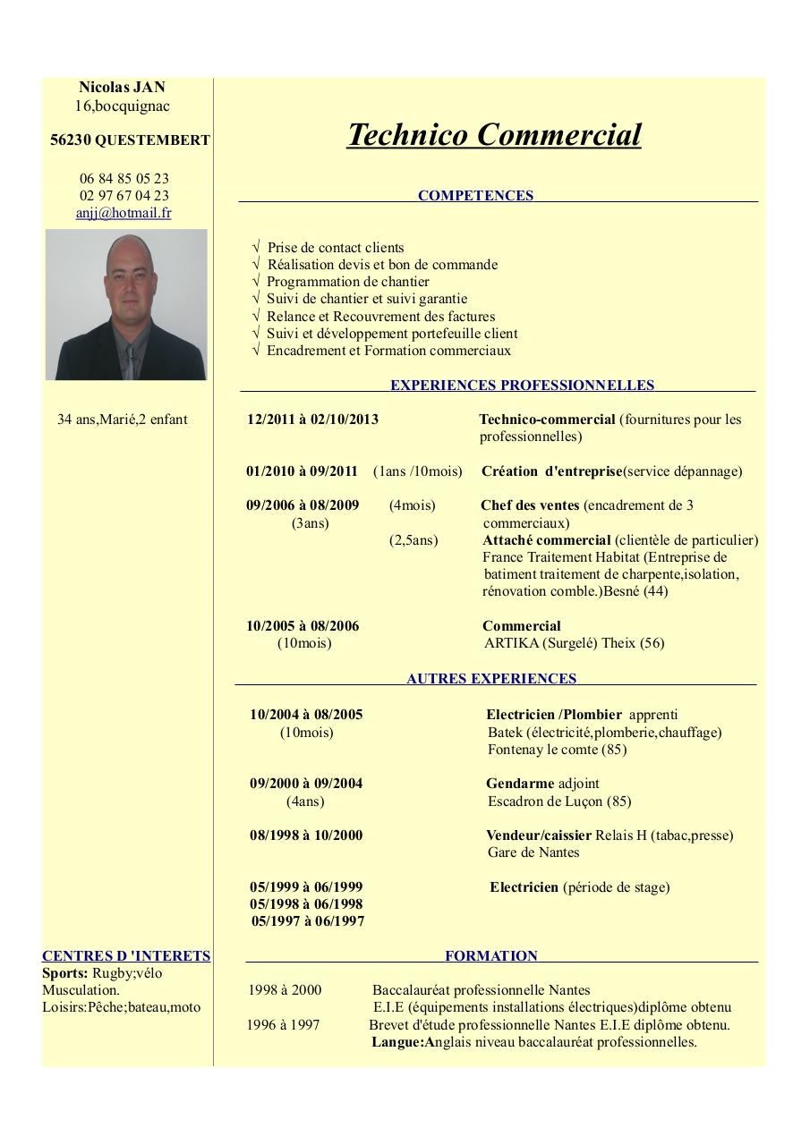 cv de technico commercial