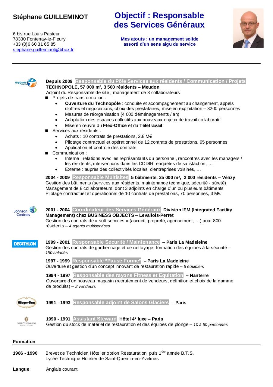 modele de cv responsable maintenance batiment