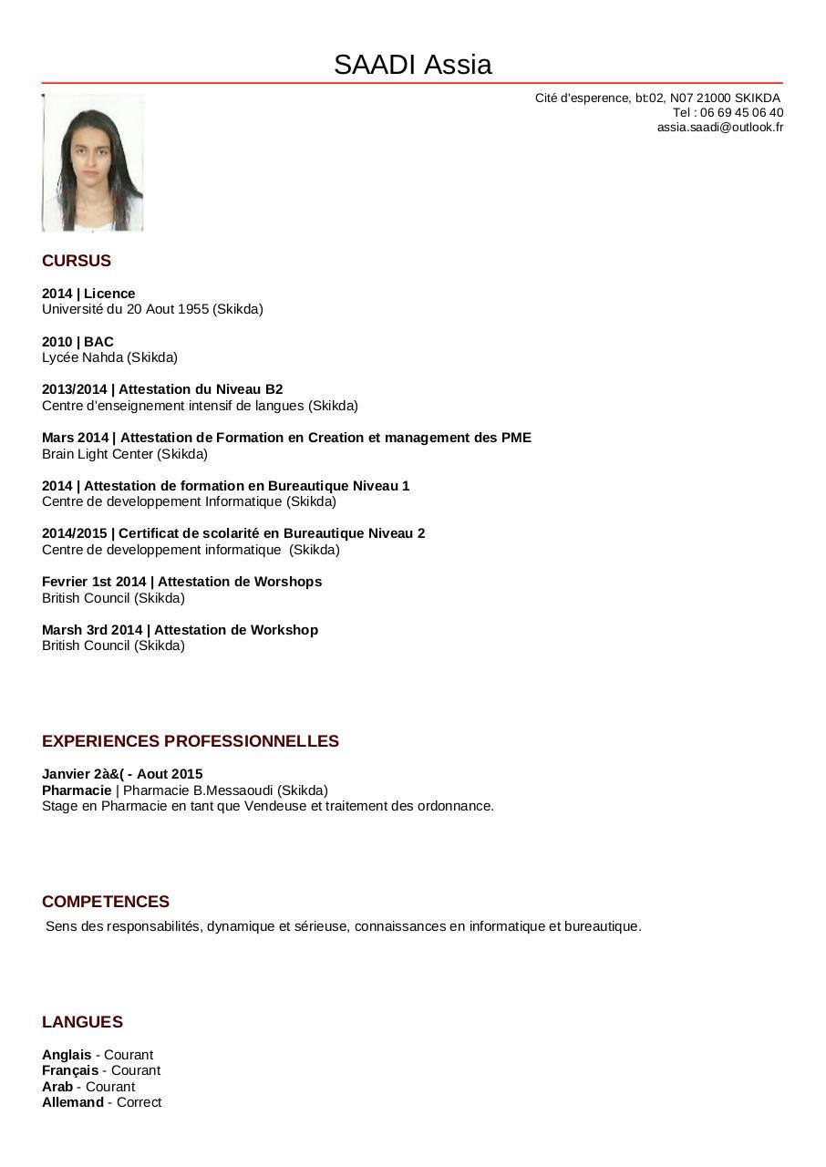 cv pdf francais