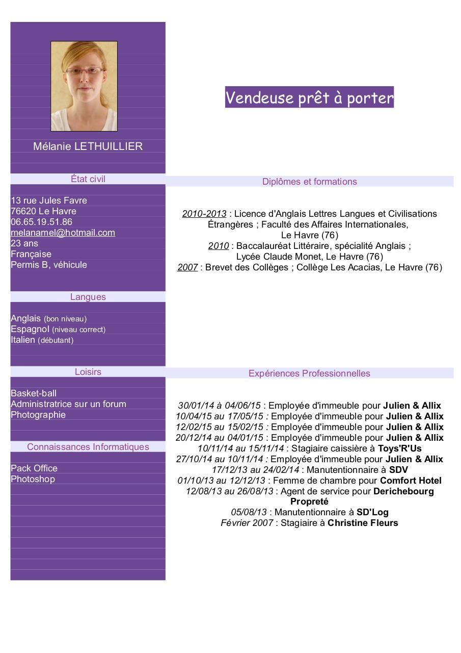 cv femme de chambre pdf