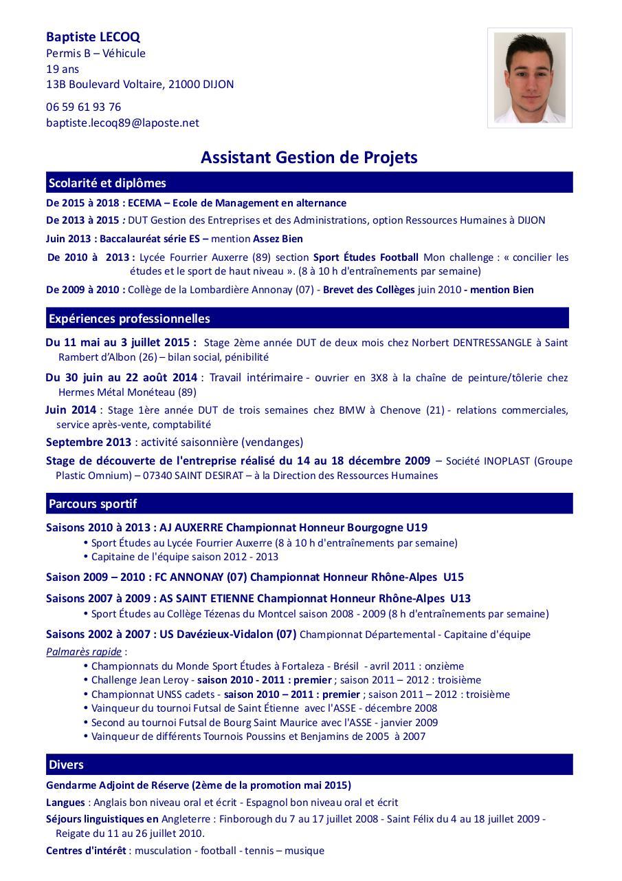 cv gestion de projet pdf