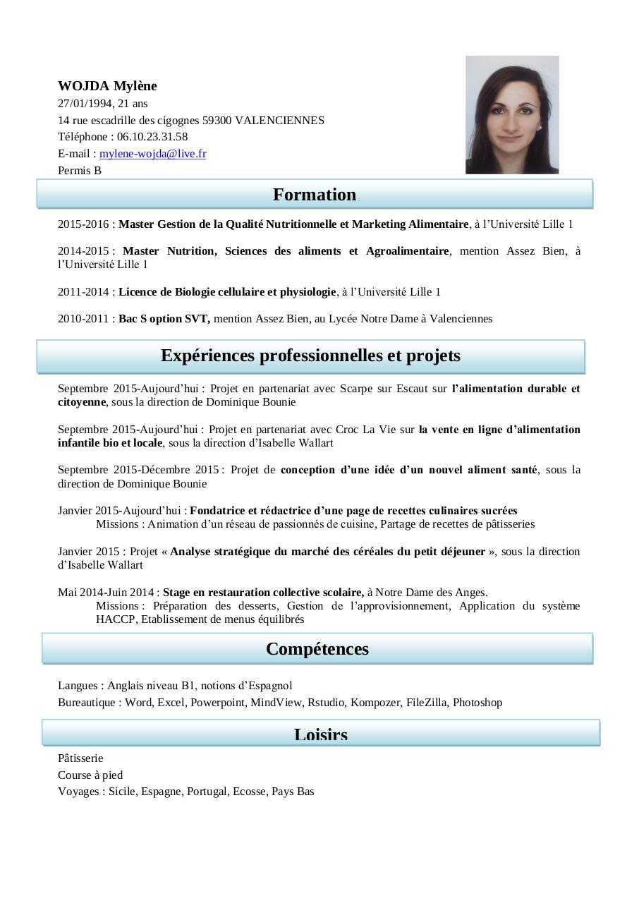 redactrice cv exemple