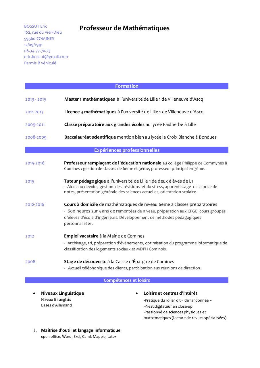 competences cv formateur word