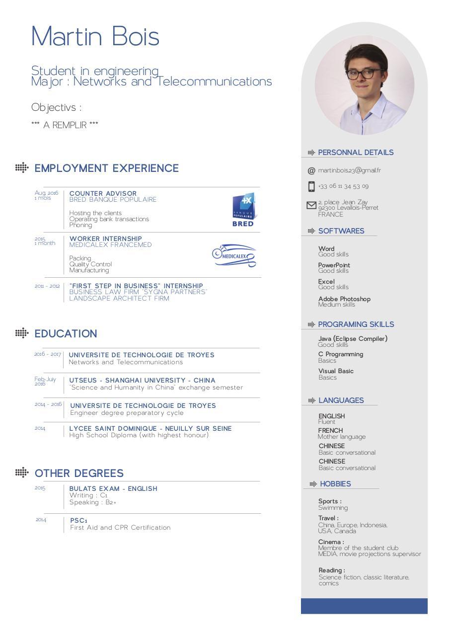 certification cv anglais