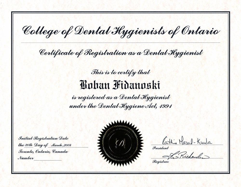 Dr Boban Fidanoski, DMD - Resume - Curriculum Vitae - practice resume