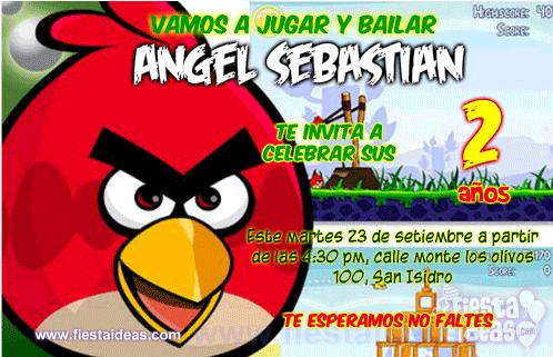 Invitaciones de Angry Birds Rojo