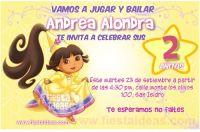 Invitaciones de Dora la Exploradora con vestido de fiesta