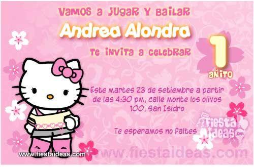 Invitaciones de cumpleaños de Hello kitty gratis -