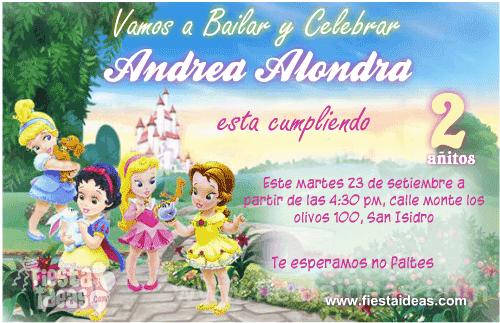 Invitaciones Princesas Disney Baby Bebes en el Castillo Disney
