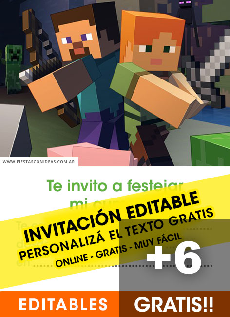 6 Free MINECRAFT birthday invitation template for edit, customize