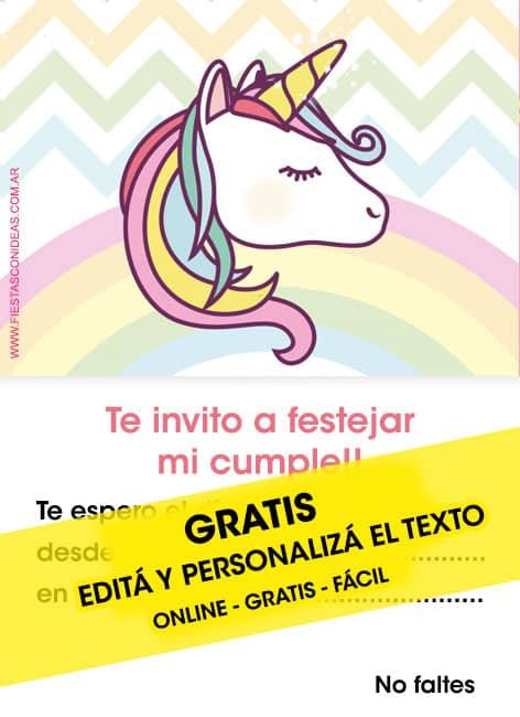 25 ♥ INVITACIONES de UNICORNIOS GRATIS para editar, personalizar e