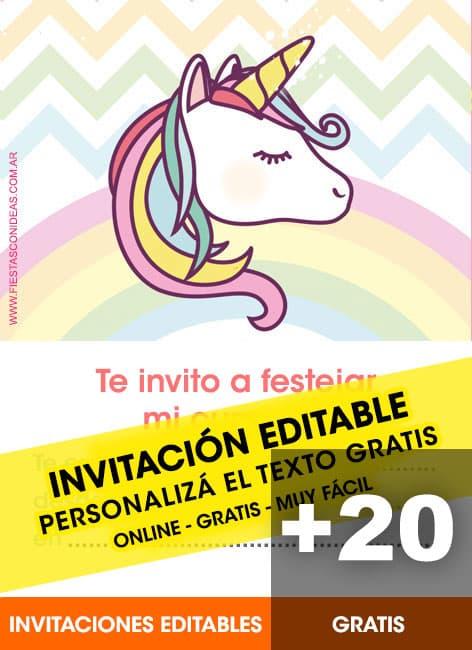 23 ♥ INVITACIONES de UNICORNIOS GRATIS para editar, personalizar e