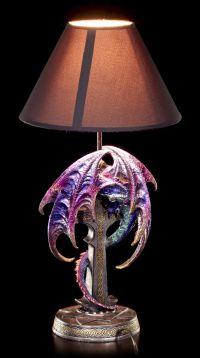 Dragon Table Lamp with Cross multicolour - Figurine lamp ...