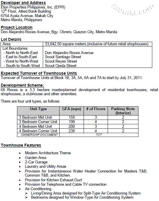 Real Estate Home Lot Sale at Project Information Sheet