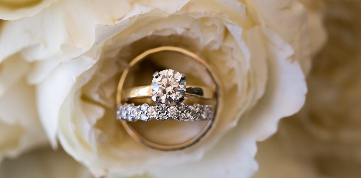 close up photo of wedding rings on wedding in key west florida