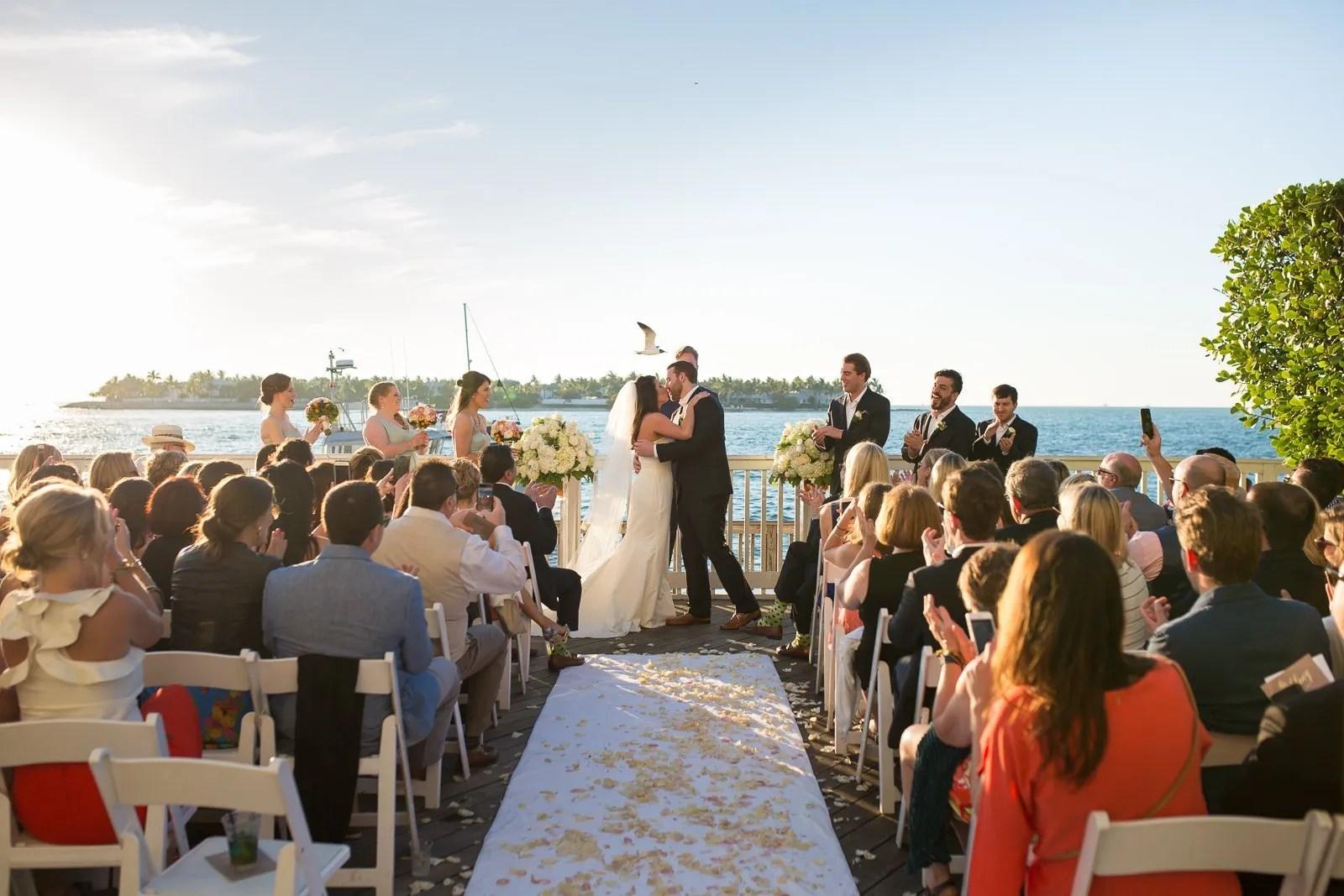first kiss at ocean key resort wedding