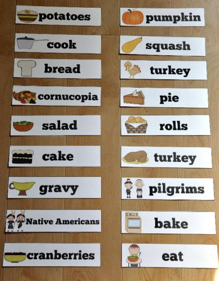 Thanksgiving Themed Visual Word Wall Words - $100  File Folder
