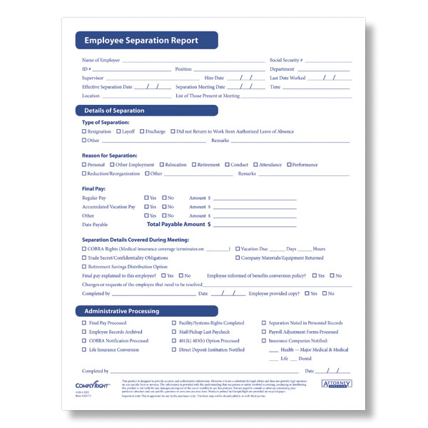 printable employee termination form - Selol-ink