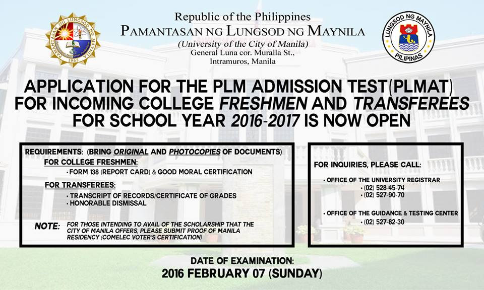 Pamantasan ng Lungsod ng Maynila entrance exam 2016 set for February 7