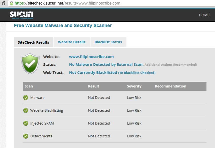 sucuri website scanner