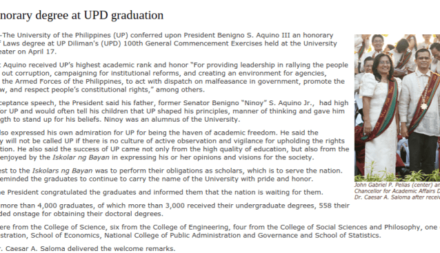 honorary degree for noynoy aquino