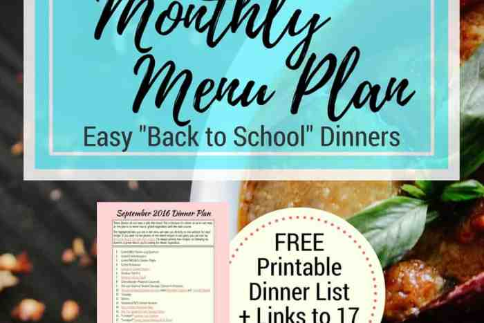 September 2016 Monthly Menu Plan   Need a dinner menu with easy meals for busy back to school nights? Click through for a printable meal plan and links to 17 recipes to make your life easier! Crockpot meals, chicken recipes, everything you need...   www.fillingthejars.com