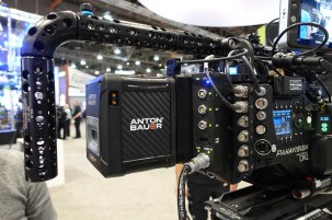 Anton/Bauer Cine battery in up position on DXL