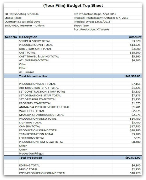 Film Budget Template Sample Movie Production Budgeting Spreadsheet - sample budget template