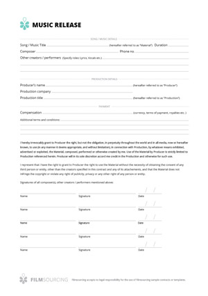 Download FREE Filmmaking Production Documents - Actor Release Forms