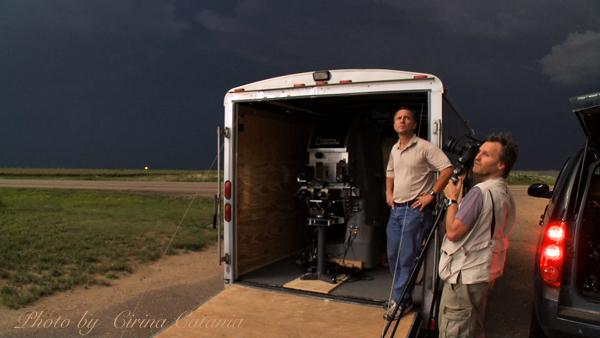 Tim Samaras & Carsten Peter chase lightning for National Geographic (Photo by Cirina Catania)