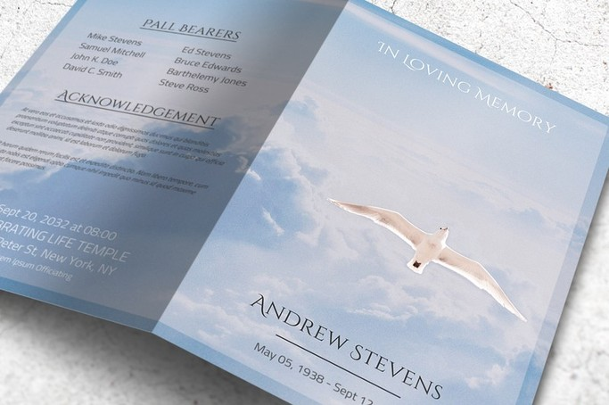Funeral Program Template with White Dove - Freedom in Heaven