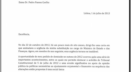 Portugal\u0027s finance minister quits and leaves goodbye letter