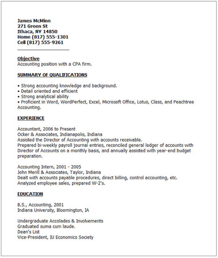 Resume Formats Professional Resume Example Examples Of Good Resumes That Get Jobs Financial Samurai