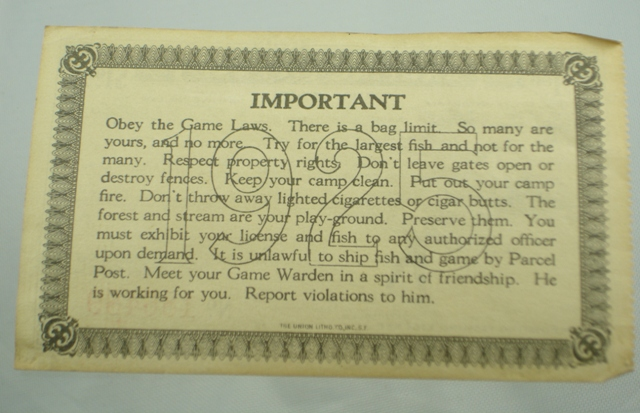 Antique fishing license the paper years antique lure for Fishing without a license california