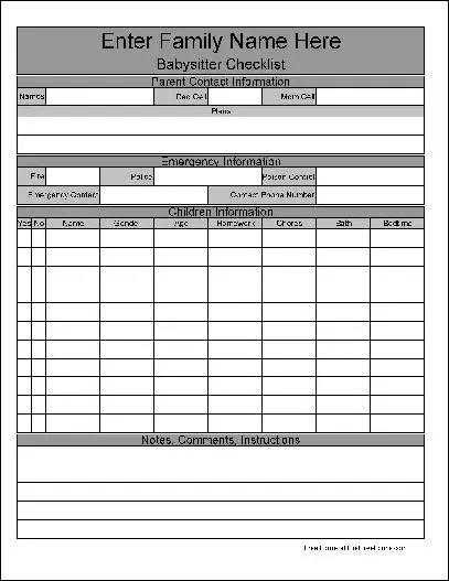 Free ersonalized Wide Row Babysitter Checklist
