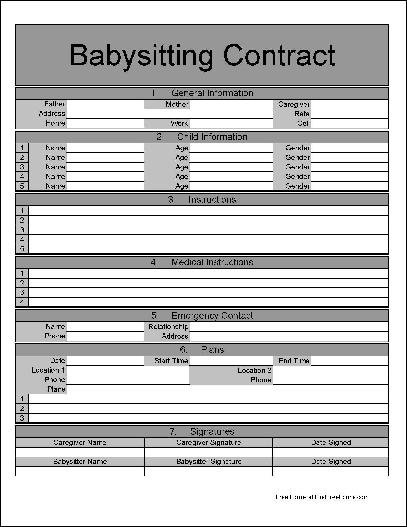 Free Fancy Numbered Row and Sections Babysitting Contract