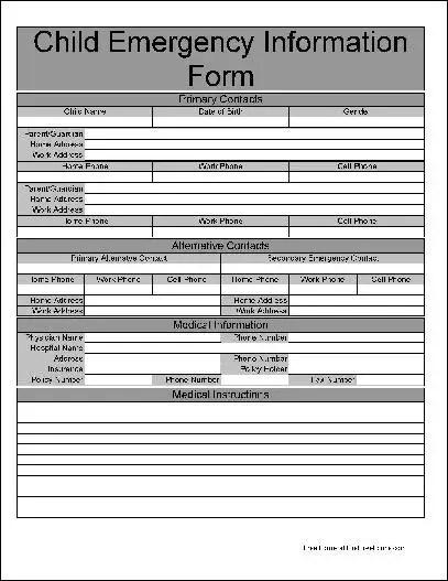 Free Basic Child Emergency Information Form