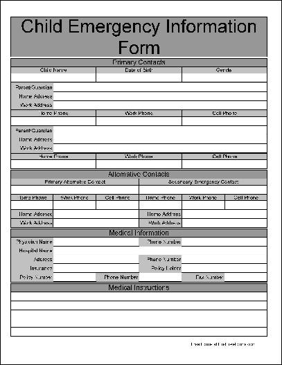 Free Wide Row Child Emergency Information Form
