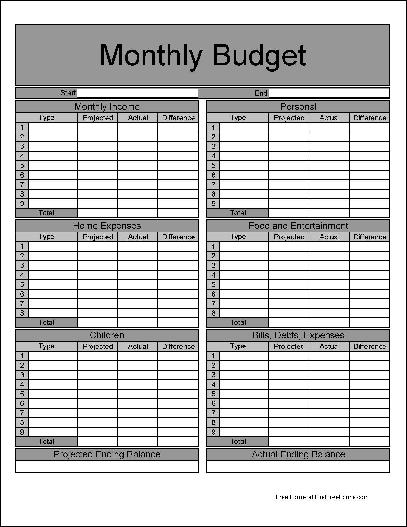 Free Fancy Numbered Row and Sections Detailed Monthly Budget - free budget form