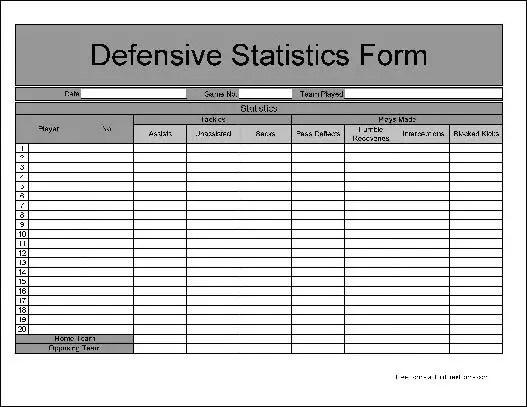 Free Numbered Row Football Defensive Statistics Form - baseball stats sheet template