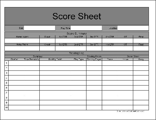 Sample Football Score Sheet Soccer Score Sheet Template Score Sheet
