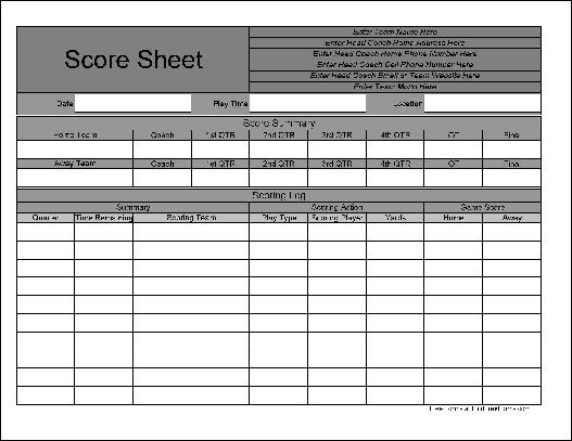 Free Personalized Wide Row Football Score Sheet - football score sheet template