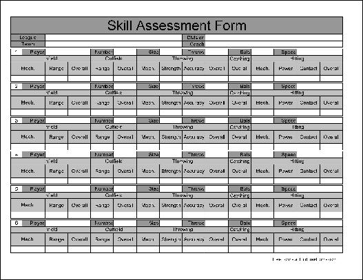 Free Numbered Row Skill Assessment - free assessment forms