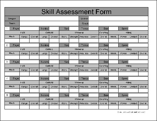 Free Wide Numbered Row Skill Assessment - free assessment forms